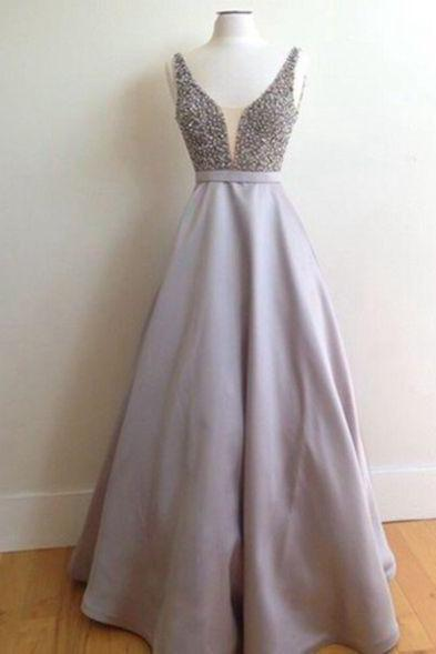 New Arrival Prom Dress,A-line beading long prom dress,V-neck satin long prom dress