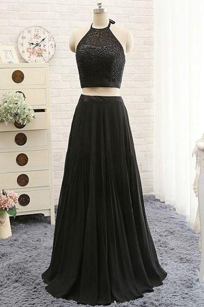 New Arrival Prom Dress,Black prom dress,Black two pieces prom dress,A-line beading chiffon long prom dress,grad dresses