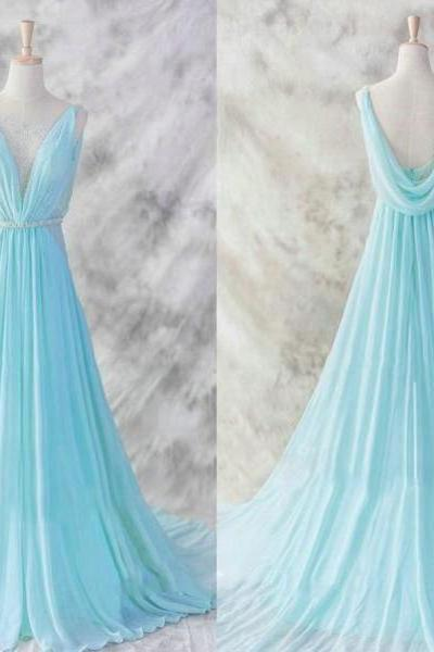 New Arrival Prom Dress,Light blue chiffon long prom dresses,elegant A-line V-neck chiffon prom dresses