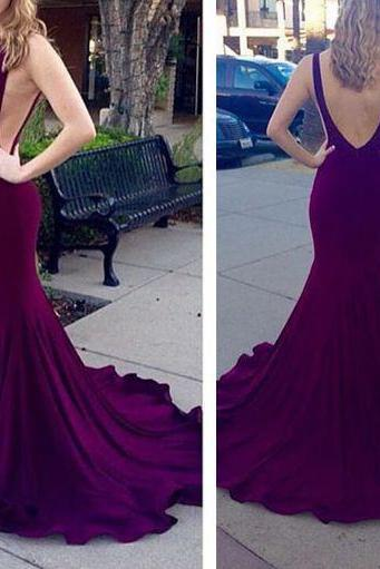 New Arrival Prom Dress,Mermaid purple backless long prom dress,evening dress,formal dress
