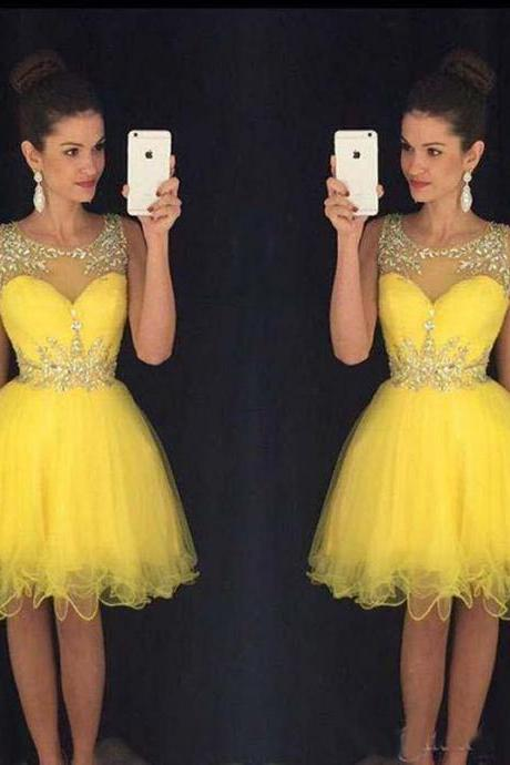 Homecoming Dress,Homecoming Dresses,Sweet 16 Dress,2017 Homecoming Dress,Yellow Cocktail Dress