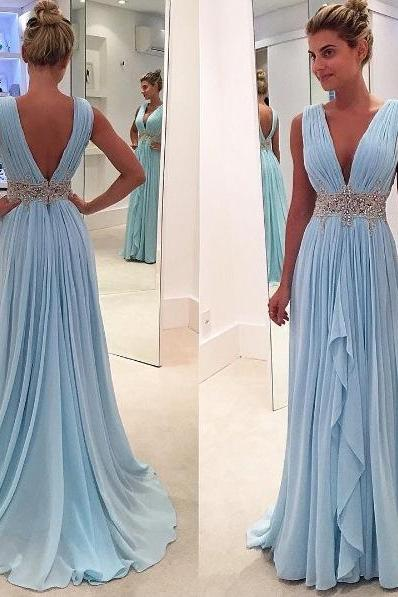 Prom Dresses,Blue Prom Dress,Modest Prom Gown,Light Blue Prom Gown,Evening Dress,Backless Evening Gowns,Party Gowns
