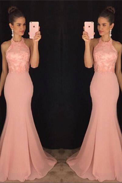 2017 New Style Prom Dress Blush Pink lace Evening Gowns prom gowns lace evening dress