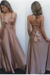 Simple A-line backless long prom dress,evening dresses