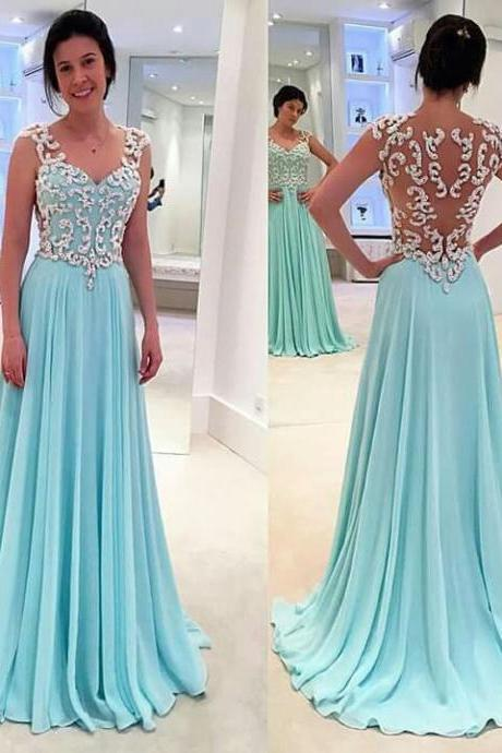 Backless Prom Dresses,Light Blue Prom Dress,Open Backs Prom Gown,Open Back Prom Dresses,Lace Evening Gowns,Open Backs Evening Dresses