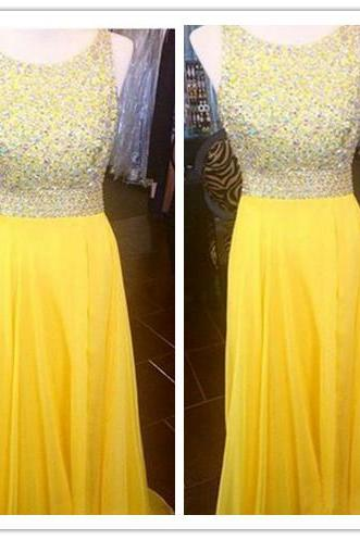 New Arrivals Prom Gown,Yellow Prom Dresses With beads,Sexy Evening Gowns,A Line Formal Dresses,Yellow Prom Dresses