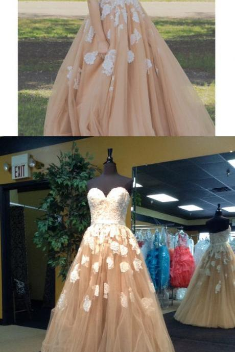 Champagne Prom Dresses,Ball Gown Prom Gowns,Lace Prom Dresses,Tulle Prom Dresses,Tulle Prom Gown,Prom Dress,Evening Gown For Teens