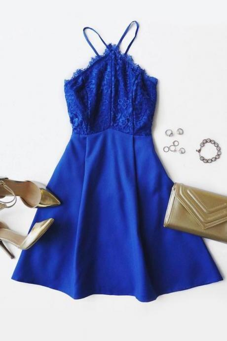 Royal Blue Homecoming Dress,Short Prom Dresses,Lace Homecoming Gowns,Fitted Party Dress,Prom Dresses,Cocktail Dress