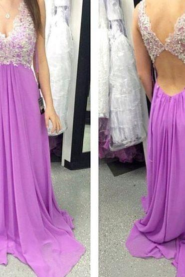 Long Prom Dress,Charming Prom Dress,Chiffon Prom Dress,Appliques Prom Dress,Backless Evening Dress