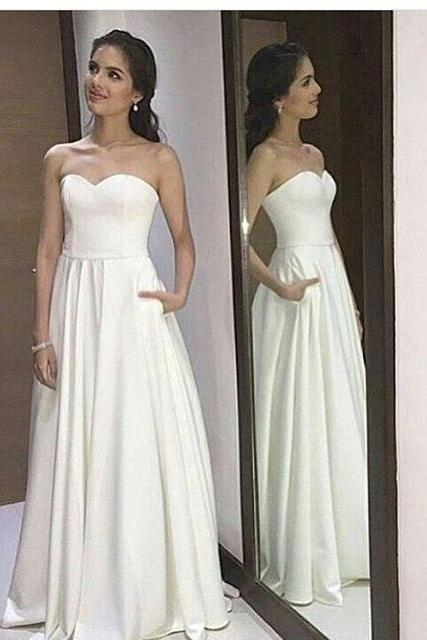 Wedding Dresses,Ivory Strapless A Line Prom Dress, Formal Gown, Evening Dress With Pockets