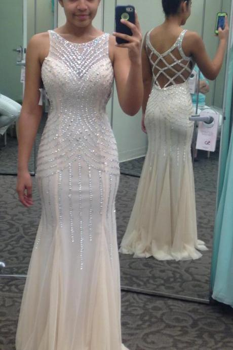 Sexy Evening Gowns White Beaded Sleeveless Mermaid Prom Dress, Formal Gown , Evening Dress