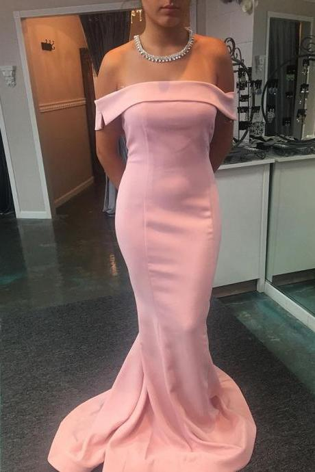 Sexy Prom Dress,Formal Dress,Pink Off The Shoulder Fitted Mermaid Prom Dress, Evening Gown With Sweep Train