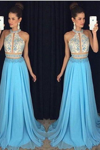 Prom Dresses,Prom Dress,Lace-Appliques Sweep-Train Chiffon Halter Newest Sleeveless A-line Prom Dress