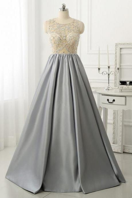 Modest Prom Dresses,Sexy New Prom Dress,Elegant Sparkly Beads Top A-line Evening Dress Open Back Stretch Satin Prom Gown
