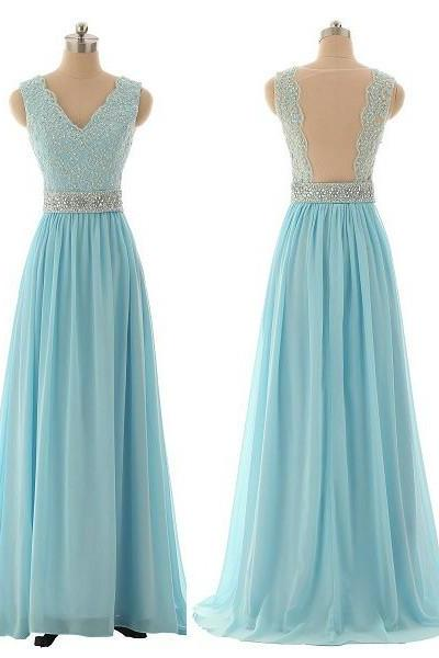 Lace Prom Dresses,Blue Prom Dress,Modest Prom Gown,Light Blue Prom Gown,Evening Dress,Backless Evening Gowns,Party Gowns