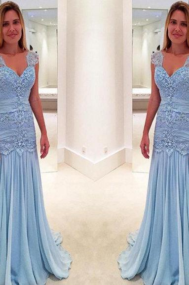 Lace Prom Dresses,Blue Prom Dress,Modest Prom Gown,Light Blue Prom Gown,Evening Dress,Evening Gowns,Party Gowns