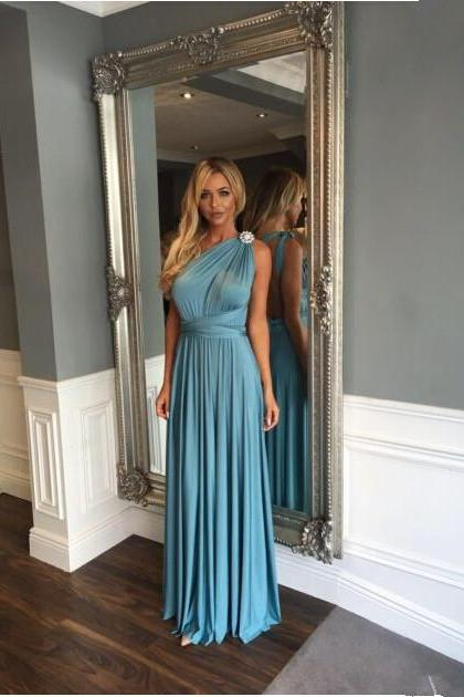 Prom Dresses,Blue Prom Dress,Modest Prom Gown,A Line Prom Gown,One Shoulder Evening Dress,Evening Gowns,Party Gowns