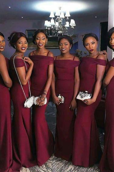 Burgundy Mermaid Prom Dresses Off-the-Shoulder Long Sexy Bridesmaids Dress,Burgundy Bridesmaids Dress,Long Dress For Bridesmaid,Wedding Party Dress,New Style Bridesmaids Dress