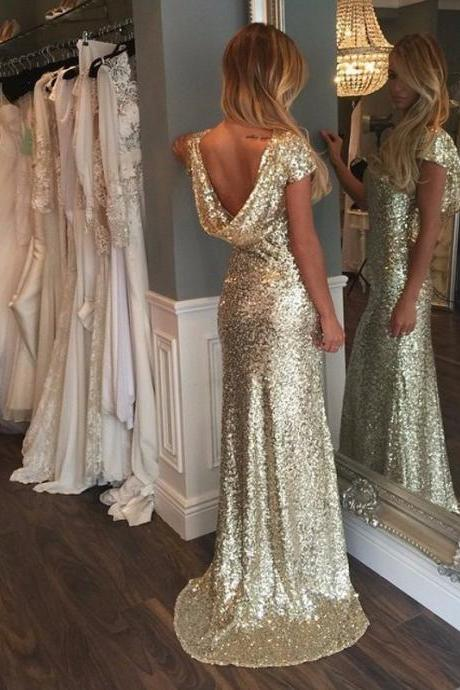 Luxurious Gold Sequins Cap Sleeves Long Prom Dress with Train, Gold Sequins Prom Dress,Bridesmaids Dress