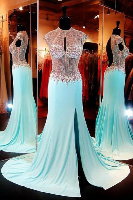 Mermaid Prom Dresses, Luxuriours High Neck Baby Blue Split Open Back Sweep Train Prom Dress with Beading