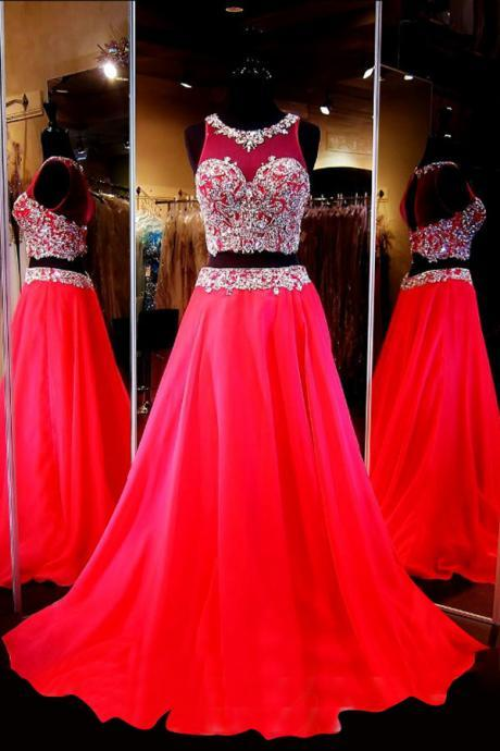 Generous Two-Piece Scoop Sleeveless Red Chiffon Sweep Train Prom Dress with Beading