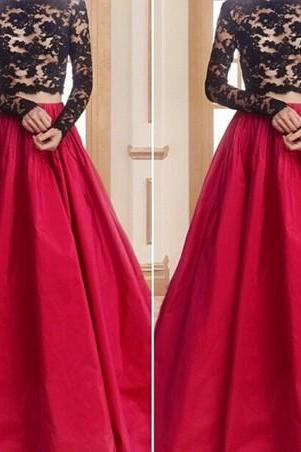 Prom Gown,Two Piece Red Bateau Neck Court Train Taffeta Crop Tops A Line Prom Evening Dress