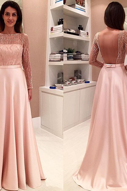 Charming Prom Dress,2017 Glamorous Long Bowknot Open-Back Long-Sleeve Evening Dress