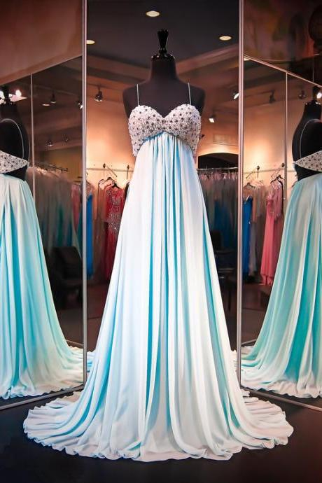 New Arrival Prom Dress,Modest Prom Dress,Sexy Prom Dresses,Sexy Chiffon Crystals 2016 Evening Dress Spaghetti Strap Sleeveless Prom Dress
