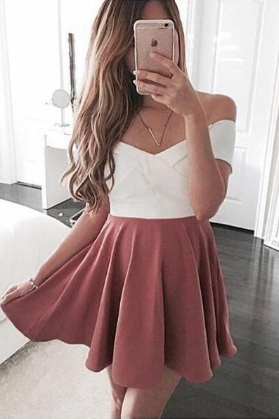 cute party dress,sundress for women ,pink homecoming dress,off the shoulder short prom dress,mini dress