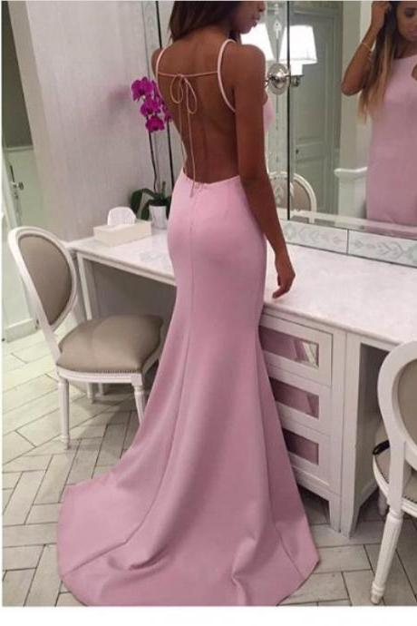 New Arrival Prom Dress,Modest Prom Dress,Pink Fitted Prom Dress,Backless Long Formal Dress,Halter Open Back Evening Dresses,Mermaid Prom Dresses