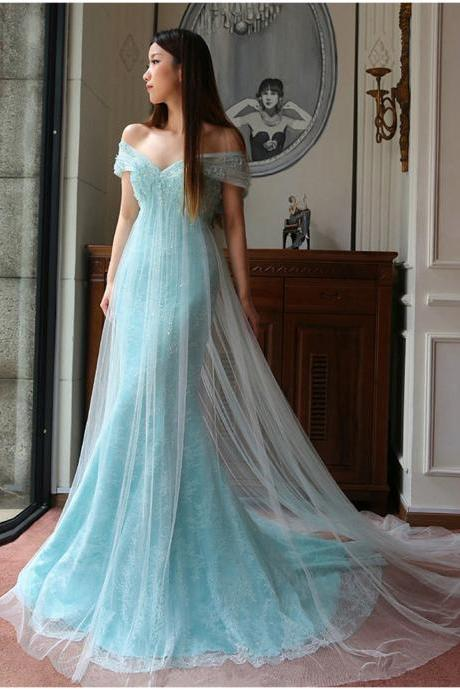 New Arrival Prom Dress,Modest Prom Dress,Sweetheart Light Blue Prom Dresses,Lace Prom Dresses,Tulle Evening Dresses,Off the Shoulder Prom Dresses,Lace Wedding Dress
