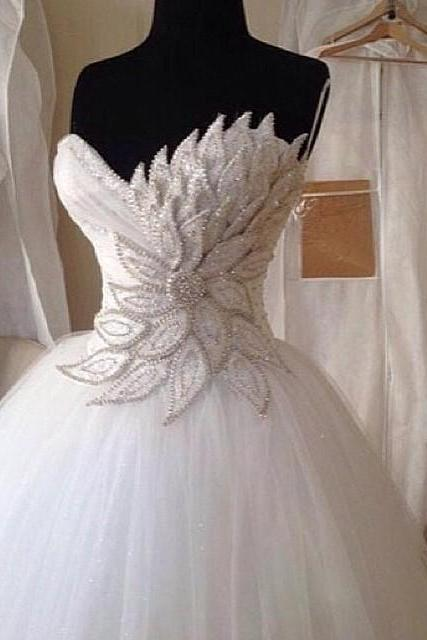 Wedding Dresses, Wedding Gown,Elegant Pearl Beaded Sweetheart Peacock Wedding Dresses Ball Gowns 2017