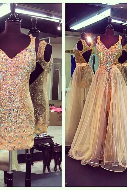 New Arrival Prom Dress,Modest Prom Dress,Crystal Beaded V Neck Champagne Prom Dresses With Detachable Skirts