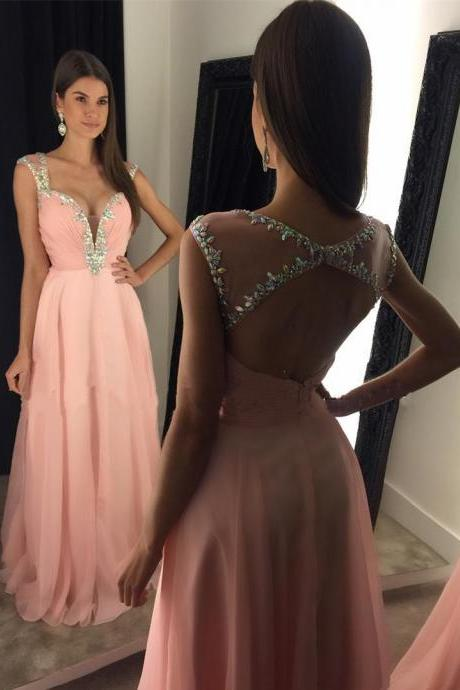 New Arrival Prom Dress,Modest Prom Dress,Stunning Beaded Straps Sweetheart Open Back Long Chiffon Prom Dresses 2017