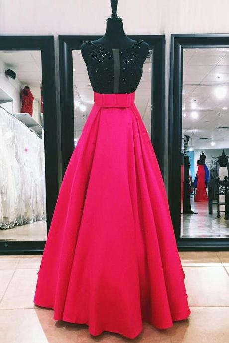 New Arrival Prom Dress,Modest Prom Dress,black sequins beaded bow sashes satin long prom dresses 2017 formal evening gowns