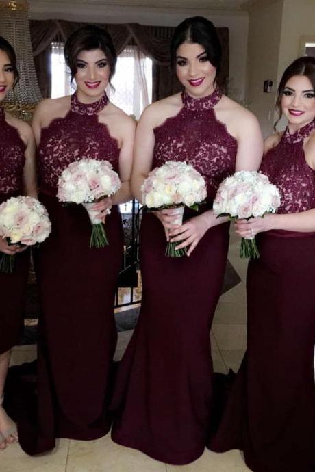 halter bridesmaid dresses,mermaid evening gowns,long formal dresses,prom dresses lace appliques