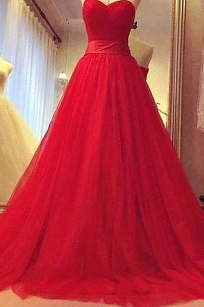 Gorgeous Red Sweetheart Tulle Prom Gowns, Tulle Party Dresses, Red Ball Gowns, Red Long Prom Dresses