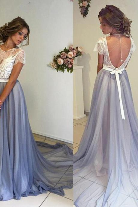 Beautiful Long Prom Dress,Charming Prom Dress,Chiffon Prom Dress,Short Sleeves Prom Dress,Backless Evening Dress