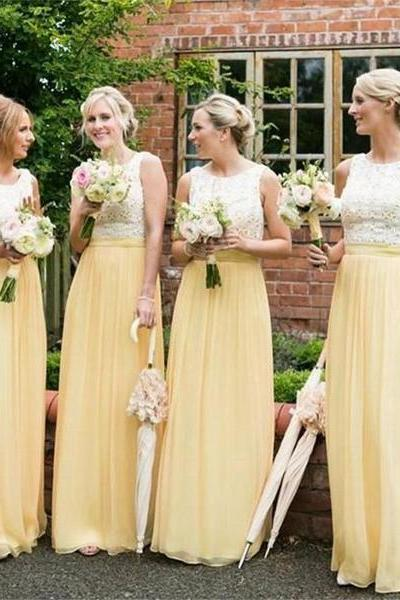 Custom Made Yellow Sleeveless Lace Top and Chiffon Skirt Bridesmaid Dress