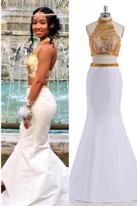 White Prom Dresses,Mermaid Prom Dress,Two Pieces Prom Gowns,Beading Evening Gowns,Open Back Party Prom Dresses