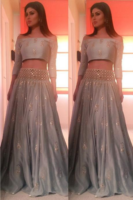 3/4 Sleeves Two Pieces Prom Dresses,Beading A-line Prom Dress For Teens,Beautiful Silver Grey Evening Dresses,Party Prom Dresses