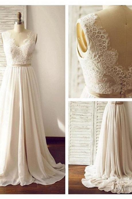Wedding Dresses,Wedding Gown,V-neck Sleeveless Open Back Wedding Dress with Lace Sash