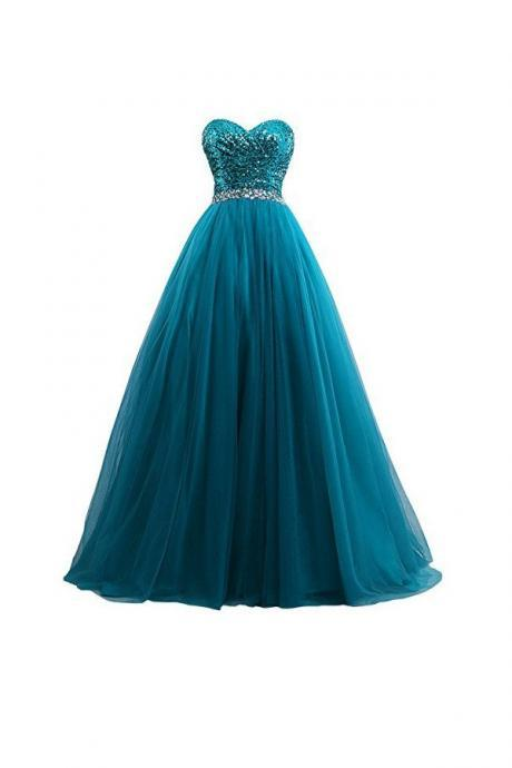 Sexy Tulle Sequin Ball Gown Prom Dresses Evening Gown