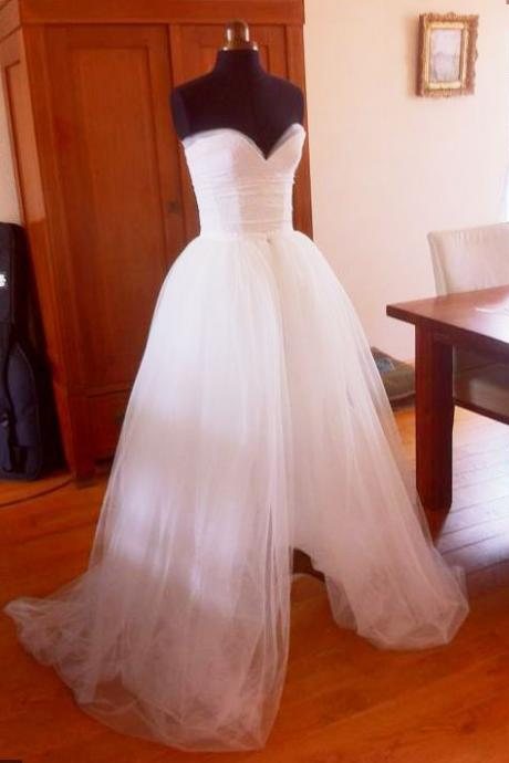 Wedding Dresses, Wedding Gown,Sweetheart Princess white slit Wedding Dresses
