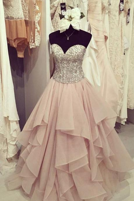 Blush Pink Prom Dresses,Ball Gown Prom Dress,Simple Prom Dress,Simple Evening Gowns,Cheap Party Dress,Elegant Prom Dresses,Formal Gowns For Teens