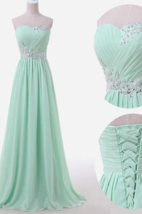 Mint Long Chiffon A-Line Prom Dress Featuring Ruched Sweetheart Bodice with Lace Appliqués, Beaded Embellishments and Lace-Up Back