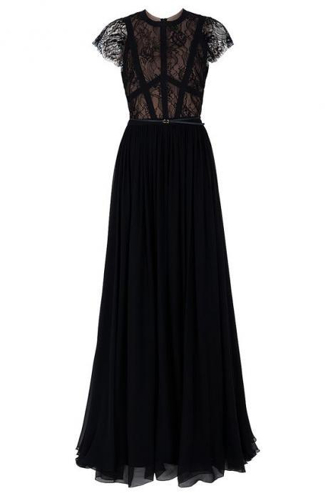 New Arrival Prom Dress,Black prom dress, long evening dresses,lace formal dress,fashion dress for girls