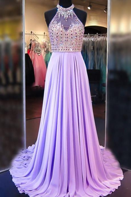 A Line Cowl Neck Sleeveless Long Pleated Beaded Lilac Prom Dress Open Back Prom Dresses
