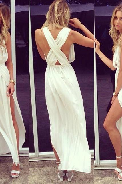 Sexy Prom Dresses Deep V Neck Sleeveless Chiffon Side Slit Ankle Length Sash White Cross Back Evening Gowns