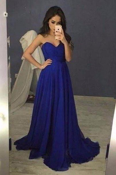 Royal Blue Sweetheart Prom Dress, Chiffon Prom Gown Long Party Dress